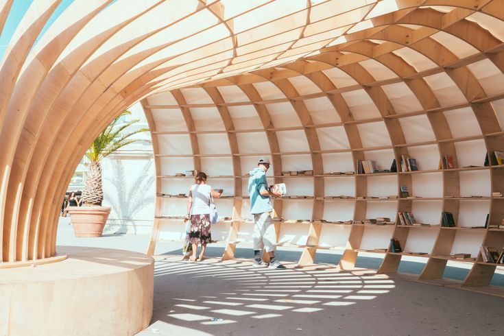 Image 1 of 30 from gallery of Parametric Design Helped Make this Street Library Out of 240 Pieces of Wood. © Emanuil Albert