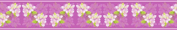 cenefa fondo lila y flores