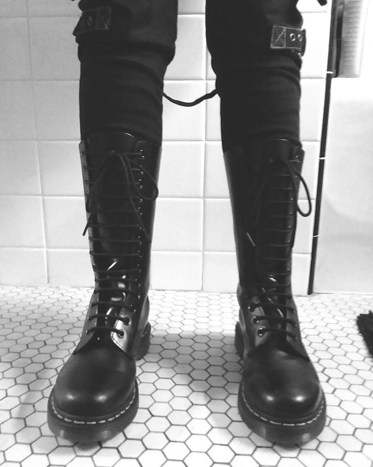 One of my favourite pairs of combat boots worn with some Tripp brand trousers with straps... #goth #gothic #darkfashion #alternative #industrial #rivethead #style #combatboots #boots #DrMartens #TrippNYC