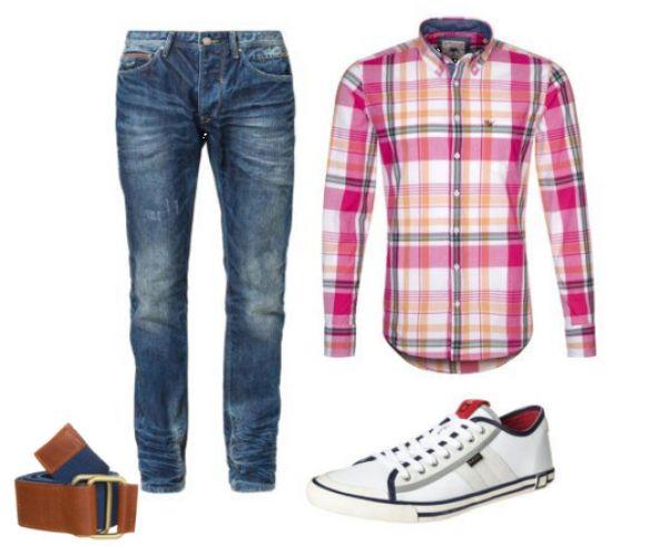 Pink skjorte, blå jeans og hvide sneakers til mænd - #Harris #Wilson #Skjorter, #Blend #Jeans #Straight #Leg, #D.A.T.E. #TENDER #LOW #ORIGINAL #CLASSIC #Sneakers #hvid