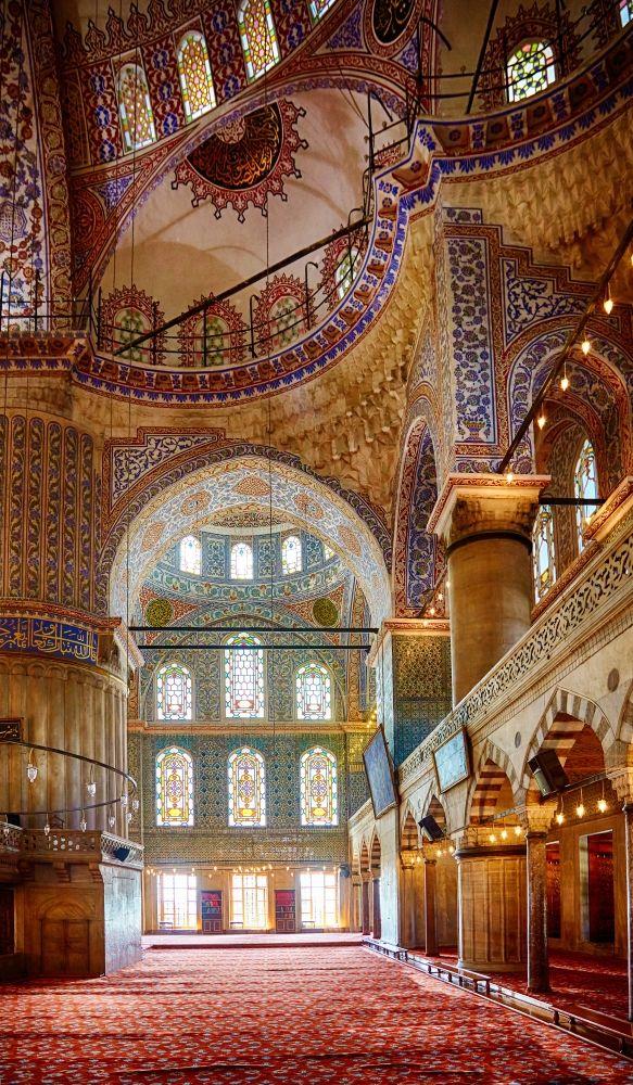 Interior of Sultan Ahmet Mosque also known as The Blue Mosque (1616), #Istanbul, Turkey - جامع السلطان أحمد (الجامع الازرق) #اسطنبول