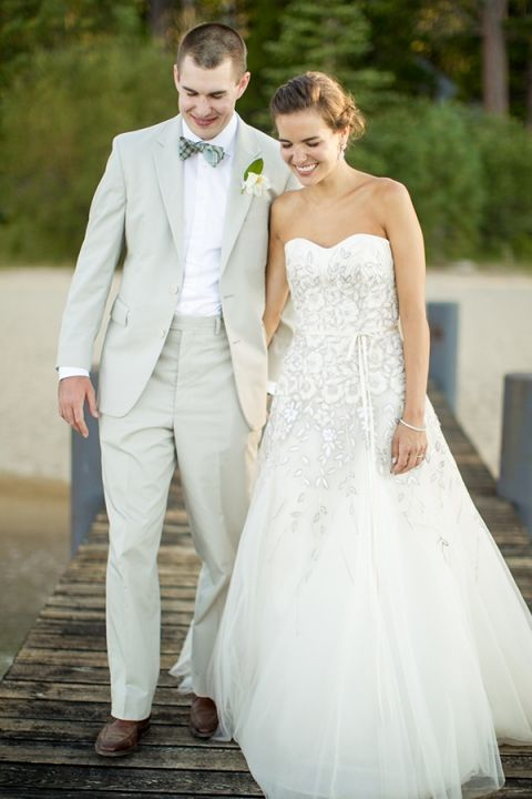 Floral Embellished Carolina Herrera Wedding Dress and a Classic Neutral Groom | MIke Larson Photography | Chic Lake Tahoe Wedding on the Beach