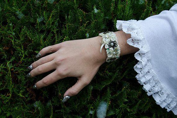 LOLITA BRACELET white bridal cuff wedding by DarkDesireStore