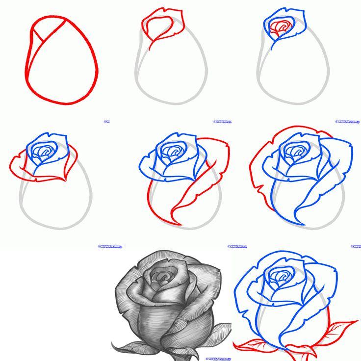 Открытки стихами, как нарисовать маленькую розу для открытки