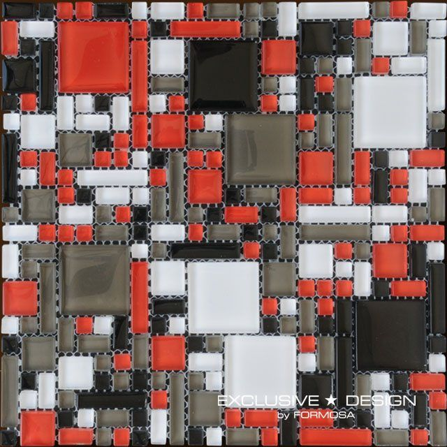 """Mozaic sticla colorata cu patratele – Midas Polonia  Acest mozaic sticla colorata cu patratele, este un mozaic modern, fabricat in Polonia. Ideal pentru amenjari interioare bucatarii si bai, dar si pentru livinguri sau holuri. Peretii decorati cu astfel de """"bijuterii"""" din sticla, vor crea o atmosfera extravaganta. Este un element de design extrem de apreciat de arhitecti. Modelul este format din patrate albe, negre gri si rosii de sticla, de diferite dimensiuni. #mozaic #mozaicsticlacolorata"""