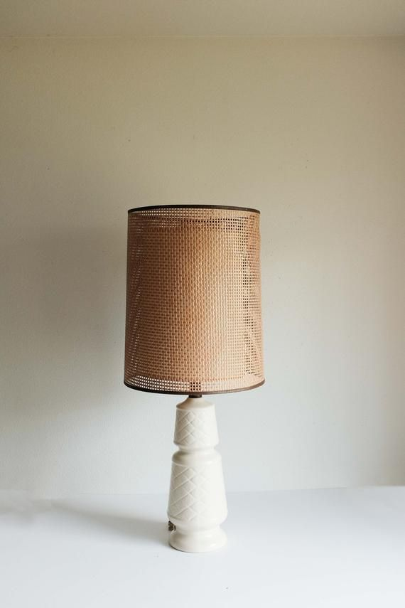 Vintage Lamps Tall Bamboo Ceramic Lamps With Shades Bamboo Etsy In 2020 Ceramic Lamp Vintage Lamps Yellow Lamp