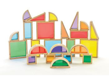 See Through Coloured Blocks. Set of 24 lightweight wooden blocks with transparent, coloured acrylic inserts.