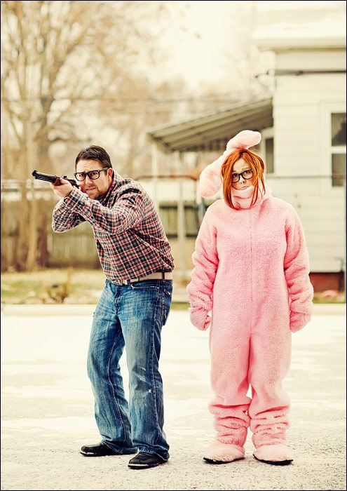 I wish my husband would participate in a christmas card like this.  Such a fun couple!