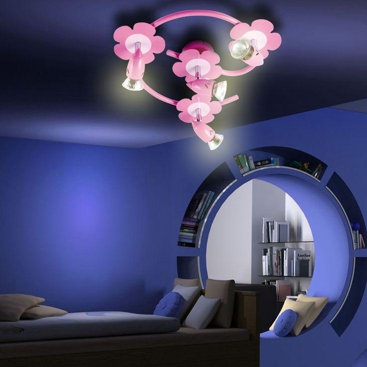 Fresh  flexible Halogen Spots Deckenlampe Wandleuchte rosa Blumen Design Kinderzimmer