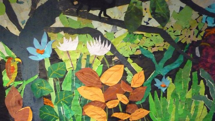 henri rousseau for kids - collage (can use to describe fore, middle and background in space