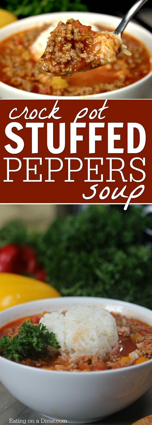 Crockpot Stuffed Peppers Soup is so easy to make and tastes delicious. You will love this stuffed pepper soup crock pot recipe. #stuffed #peppers #soup