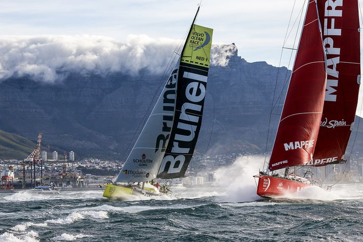 CAPE TOWN, SOUTH AFRICA - NOVEMBER 19:  In this handout image provided by the Volvo Ocean Race, MAPFRE and Team Brunel during the start of Leg 2 from Cape Town to Abu Dhabi on November 19, 2014 in Cape Town, South Africa. The Volvo Ocean Race 2014-15 is the 12th running of this ocean marathon. Starting from Alicante in Spain on October 04, 2014, the route, spanning some 39,379 nautical miles, visits 11 ports in eleven countries (Spain, South Africa, United Arab Emirates, China, New Zealand…