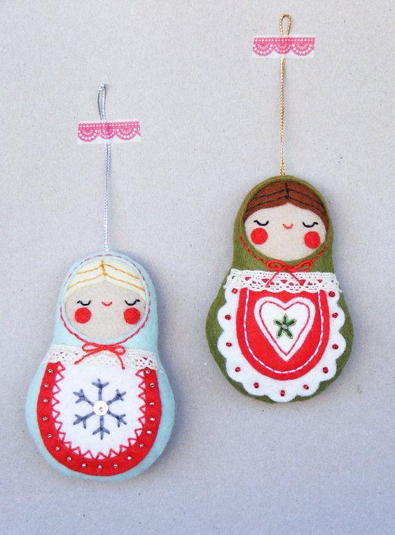PDF pattern Nesting dolls Felt Christmas ornament by iManuFatti
