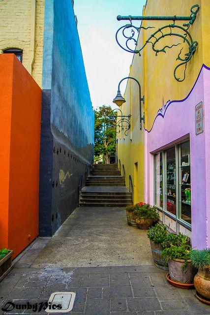 Colors in the back alleys of Petaluma, California, US
