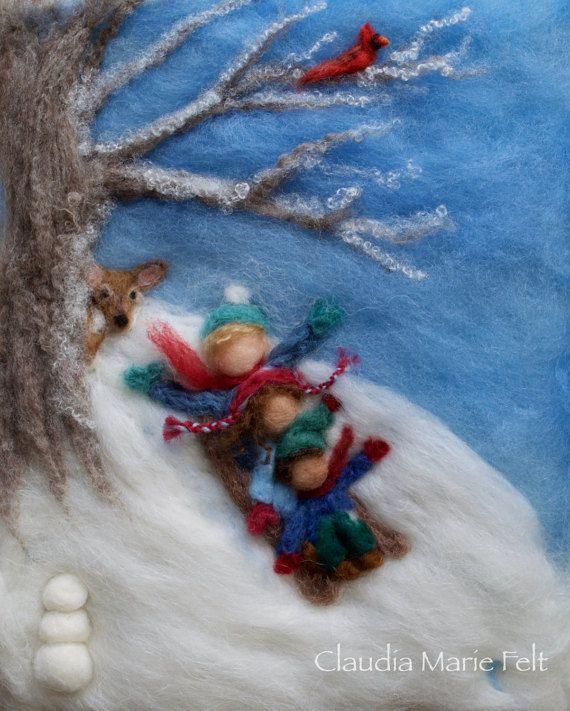 Waldorf stagioni inverno feltro lana pittura Custom