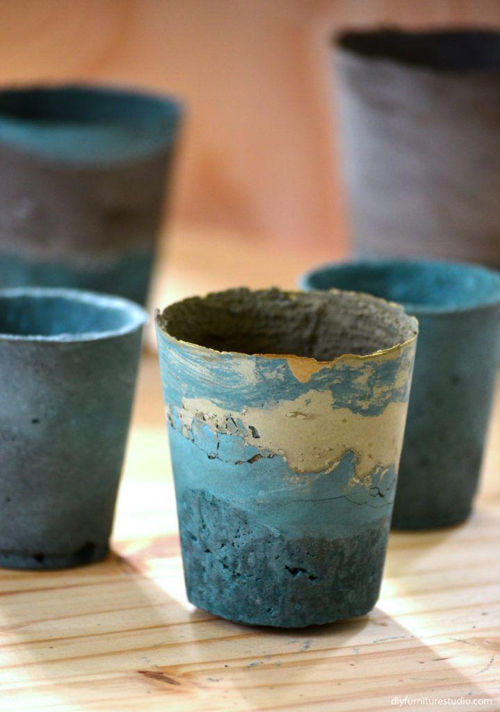 Aprende a hacer pintura teñida de cemento bricolaje suculentas jardineras, ollas, cuencos, platos, jarrones en diyfurniturestudio.com