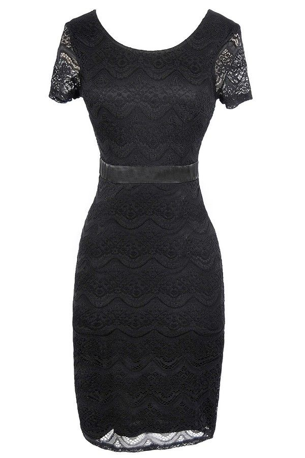 Lily Boutique Lace Pinup Fitted Dress in Black, $40  www.lilyboutique.com