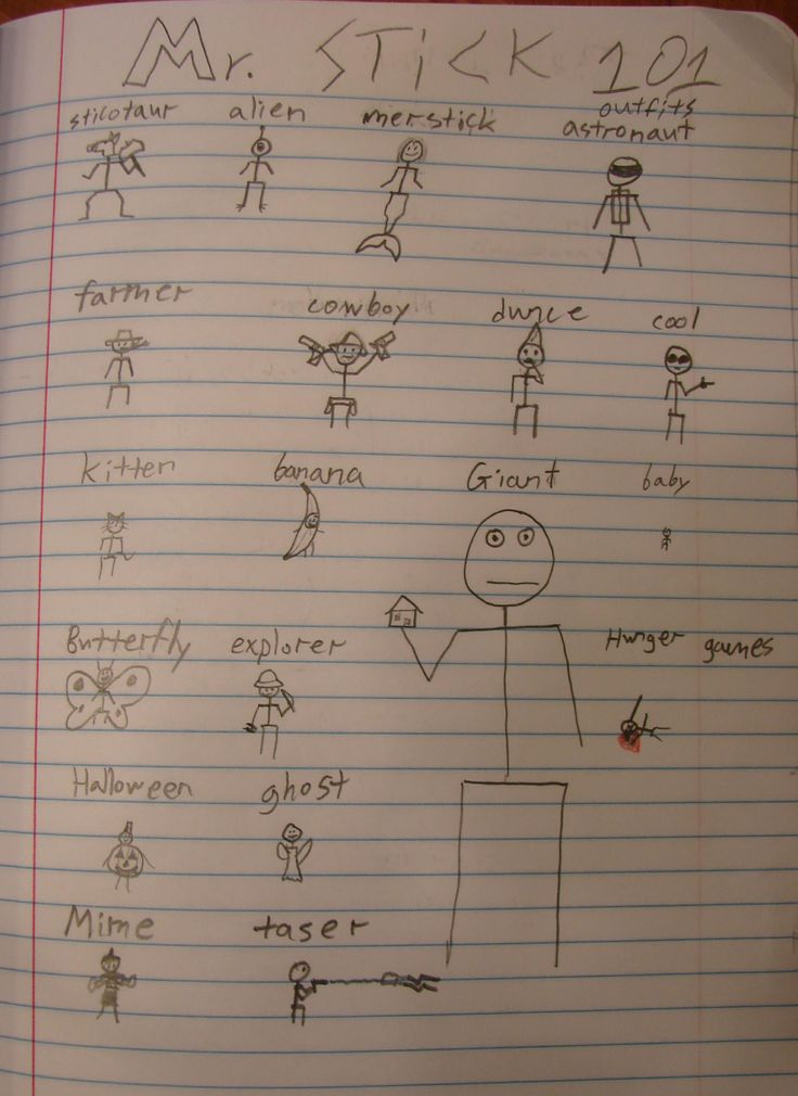 Start the new school year off strong, especially with techniques that make your kids love their writer's notebooks. One of my best tricks is to teach them how to draw Mr. Stick in the first week of school, then challenge them to create a page that celebrates this iconic character; 7th grader Jordan is already off and running with the idea! Later on, Mr. Stick will keep visiting their notebooks pages! Mr. Stick resources are free at my website: http://corbettharrison.com/Mr_Stick.html
