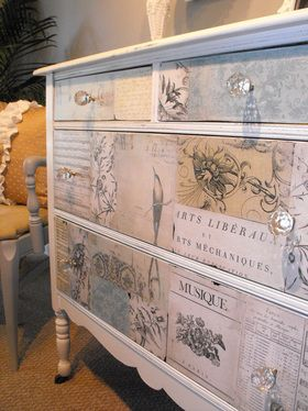 Such a pretty, shabby look!  Decoupage drawers with your favorite scrapbook paper and Mod Podge - love it!