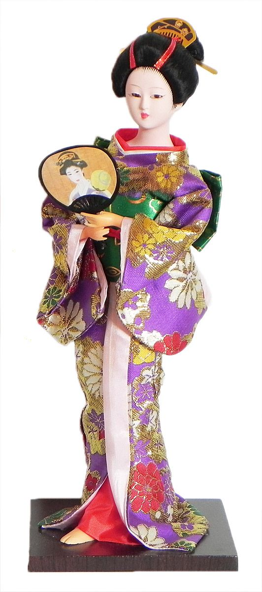Japanese Geisha Doll in Mauve with Weaved Golden Design Kimono Dress Holding Fan (Cloth, Clay, Plastic and Thermocol)