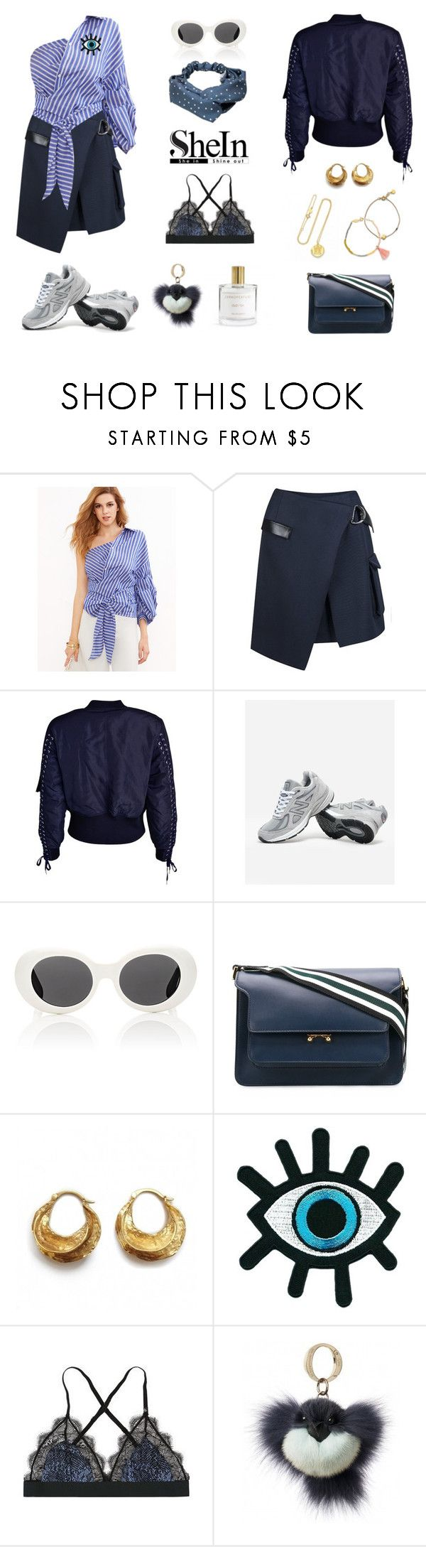 """""""484 - Shades Of Ocean Blue"""" by caroline-mathilde ❤ liked on Polyvore featuring Lala Berlin, Jakke, New Balance, Acne Studios and Marni"""