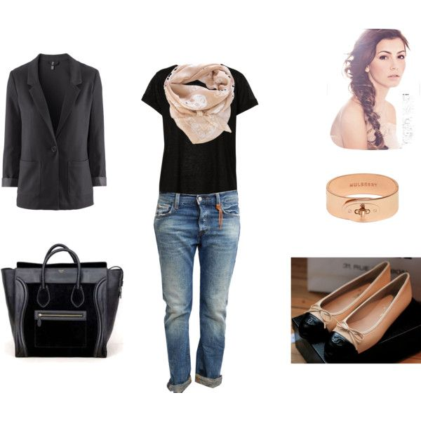 jean and black shirt with tan scarf: A Mini-Saia Jeans, Alexander Mcqueen, Black Shirts, Style Pinboard, Tans Scarfs