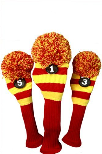 Majek Golf Club Head Covers Red  Yellow Limited Edition Throwback Long neck Knit Retro Pom Pom Traditional Classic Vintage Old School Ultimate Driver Fairway Wood Golf Head Cover Set Usc Colors *** More info could be found at the image url.