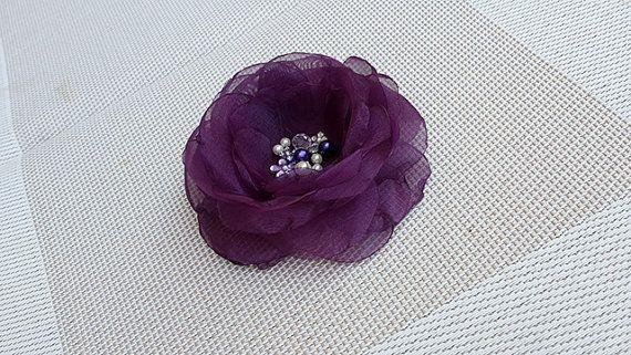 Beautiful Flower Brooch with Eggplant Purple Organza by nezoshop, $15.00
