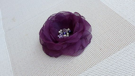 Beautiful Flower Brooch with Eggplant Purple Organza by nezoshop, $15.00