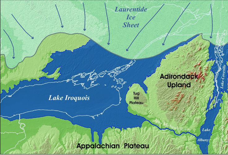 Just before she drained down the Hudson River Valley - Lake Iroquois map by Woods Hole Oceanographic Institute
