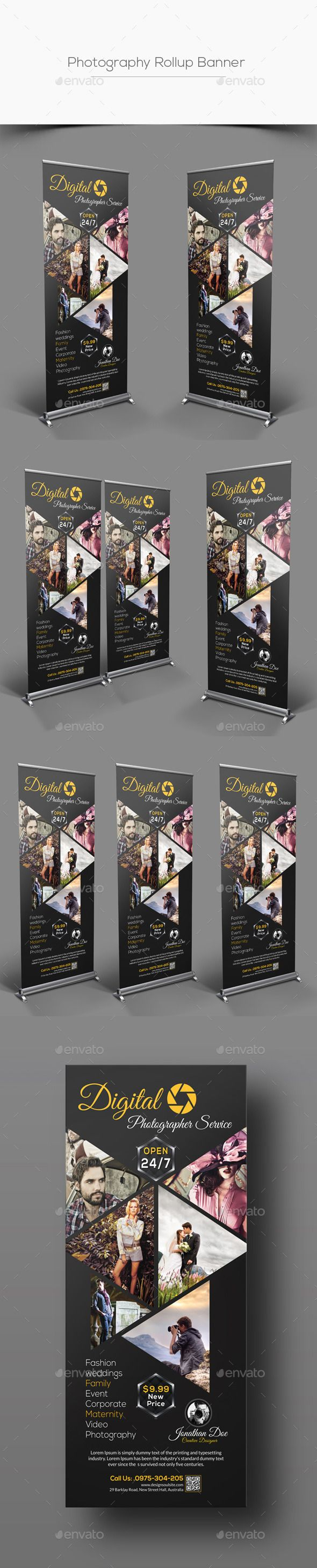 Photography Rollup Banner Template #design Buy Now: http://graphicriver.net/item/photography-rollup-banner/12862089?ref=ksioks
