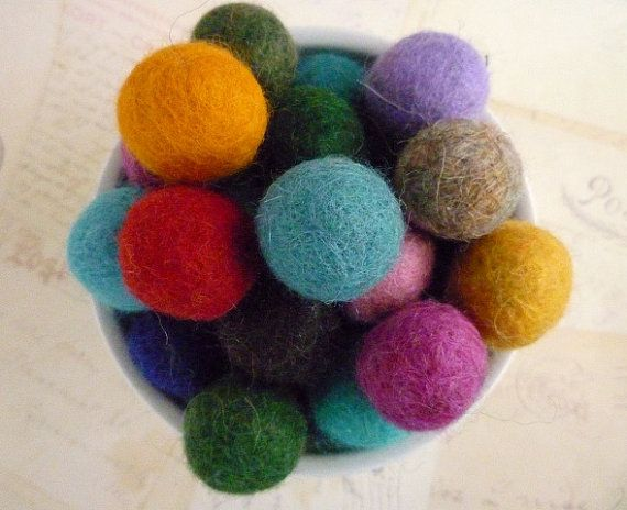Felt Balls x 100 - Mixed Colours - 2cm - Felted Wool Balls
