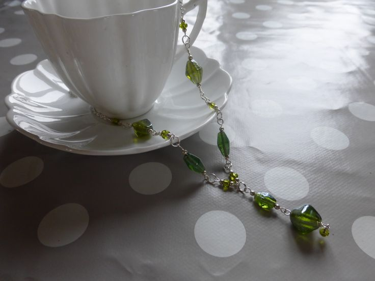 Necklace: Emerald green glass beads with silver chain by TheCatAndTheClasp on Etsy