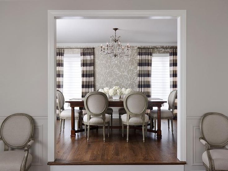 dining rooms - Crystal Chandelier Wallpaper Chic Transitional Kravet Drapery Schumacher Wall Paper Vanguard Chairs Bernhardt Table Spacious