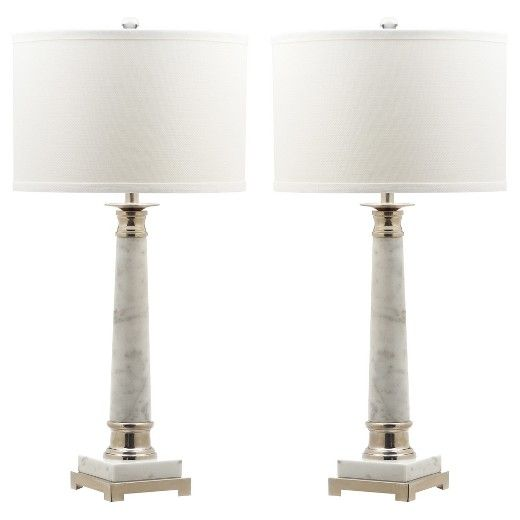 Evoking the timeless elegance of a classical Georgian column, the grey-grained white marble base of the Colleen table lamp is contrasted with a bright nickel pedestal and accents. This transitional lamp is topped with a textured white drum shade.