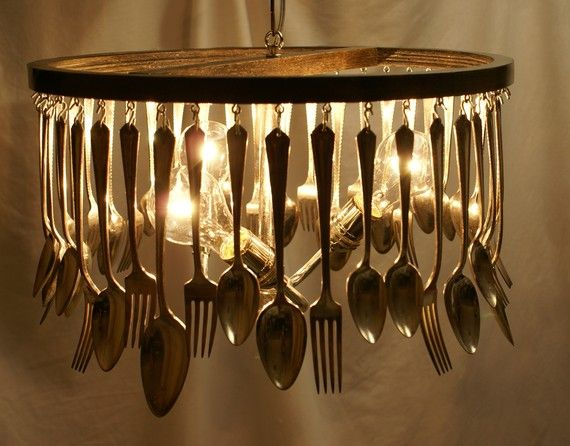cutlery chandelier for eat in kitchen or casual dining room - Kitchen Chandelier Ideas