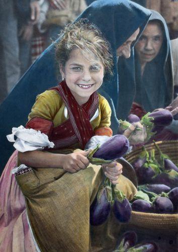 Iglesias, Sardinia, Italy ~~ Young Girl Checking the Eggplant