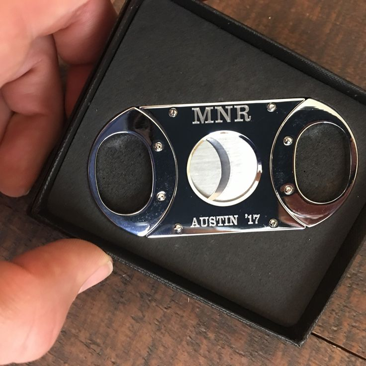 Our silver cigar cutters are so shiny it's hard to get a picture but make amazing groomsman and bachelor party gifts!  These bad boys are engraved with groomsmen initials and location of the bachelor party.  What a legit gift to celebrate a wedding!