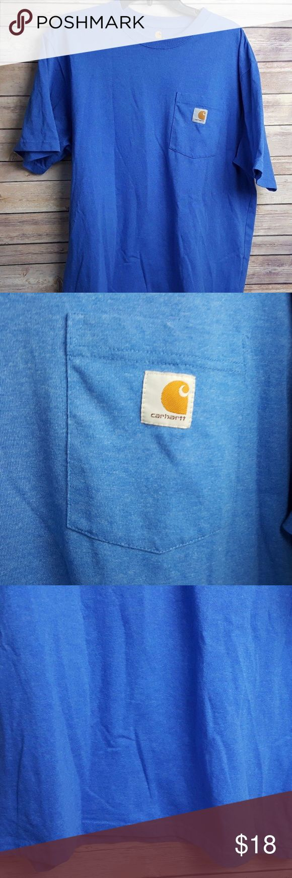 "Carhartt Work Pocket T-Shirt Blue Marl Large Carhartt Work Pocket T-Shirt Blue Marl Large L Original Fit Short Sleeve  Pit to pit: 23.5"" Shoulder to hem: 28""  Small hole on the back of the collar  For a more detailed description of the item please see the photos. Carhartt Shirts Tees - Short Sleeve"
