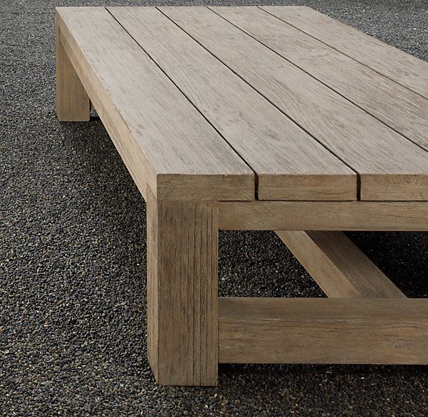 French Beam Teak Coffee Table: Would Love To Have A Few Of These Along The Fence In The