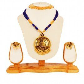 Japi with Golden Barfi necklace with ear rings-  The jewelry is very beautiful in its design with the Japi beautifully handcrafted with small Barfis in between. Blue mina is also used in the spaces in between the Barfis to give a dazzling look.  Buy Assamese jewellery online:http://onlineplus.co.in/