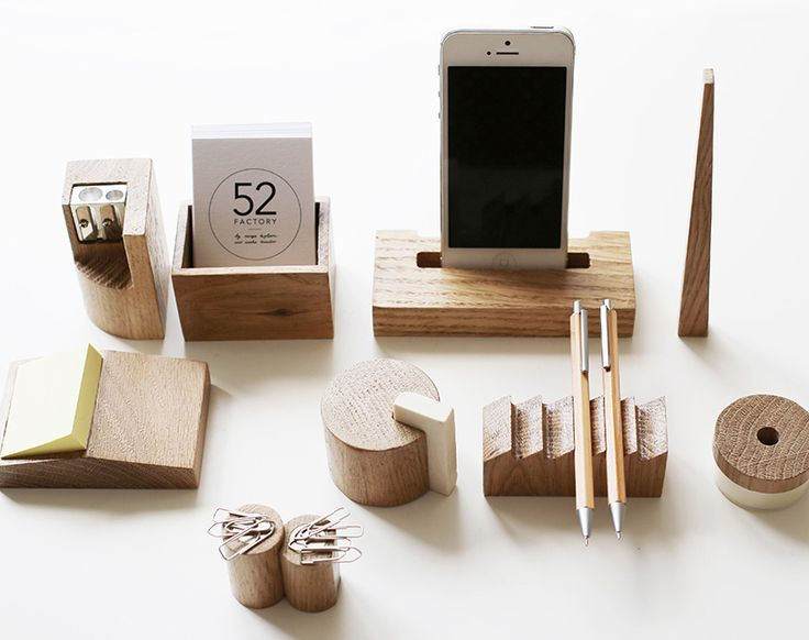 the 10 piece set includes: pencil sharpener, ruler, phone dock, card, post-it note, and eraser holders, paper clip magnet, tape dispenser, and pen case.
