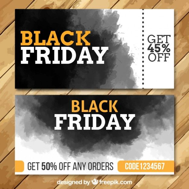 Free vector Watercolor black friday banners #27481