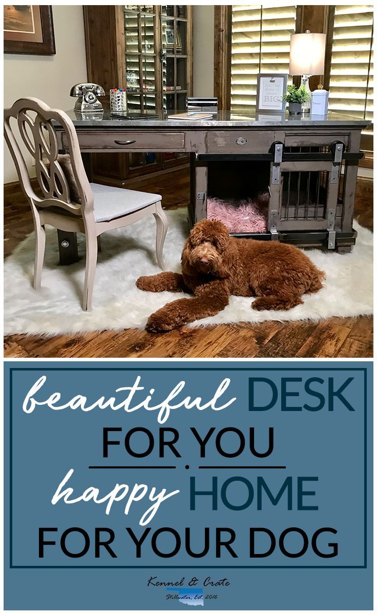 Designer indoor dog kennels! Replace your wire dog crate with a beautiful piece of functional furniture! Great conversation piece that can be used as an desk at home or in your office! We build custom pieces! #Kennelandcrate #Customdogkennels #Dogkennels #Designerkennel #Happydog