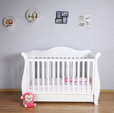Buy White 3-In-1 Baby Sleigh Cot Toddler Bed with Drawers at Just $349.95. #BabySleighCot