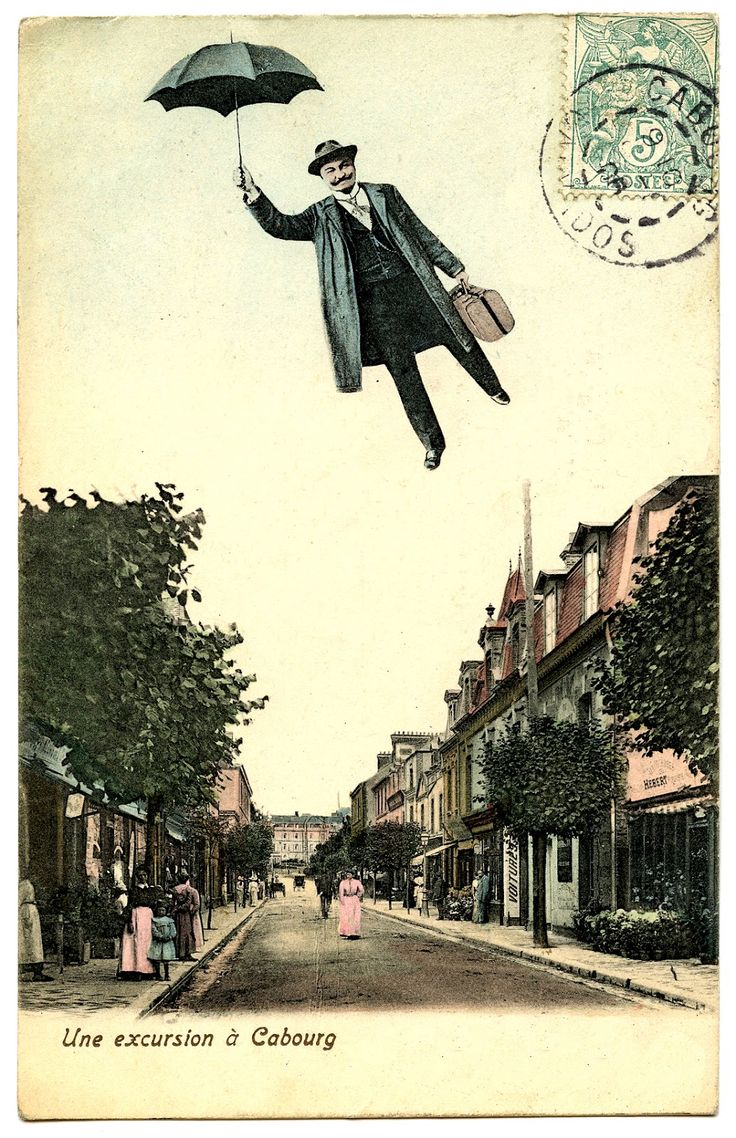 *The Graphics Fairy LLC*: Old Photo - Flying Man with Umberella: Vintage Postcards, Flying Man, Mary Poppins, Posts Cards, Man Posts, Start Posts, Favorite Pin, Random Pin, French Postcards