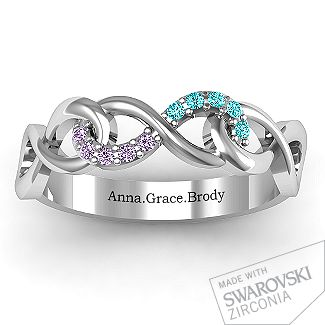 Triple Entwined Infinity Ring with Accents | Jewlr