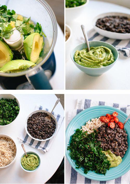 Kale, Black Bean and Avocado Burrito Bow | comida | Pinterest