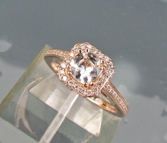 White Sapphire Square Cushion 14k Rose Gold Engagement Ring Diamond Halo Wedding Anniversary Gemstone Ring