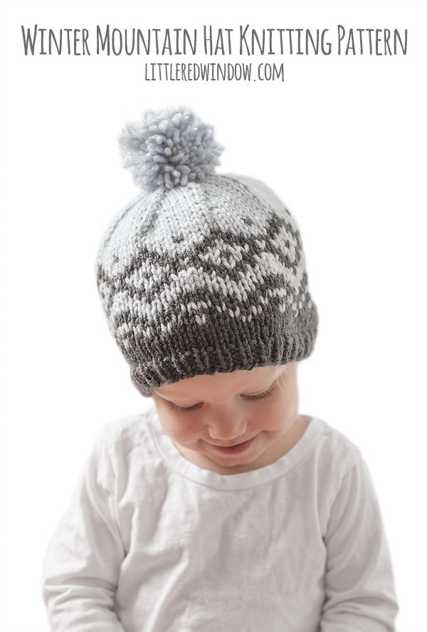 This pretty geometric winter mountain hat fair isle knitting pattern knits up beautifully in two colors of worsted weight yarn!